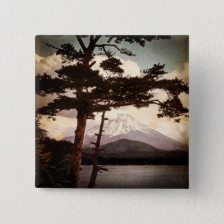 Mt. Fuji Through the Pines Vintage Old Japan 15 Cm Square Badge