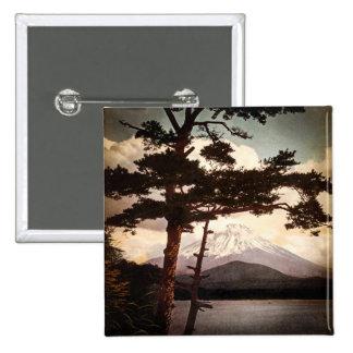 Mt. Fuji Through the Pines Vintage Old Japan 15 Cm Square Badge