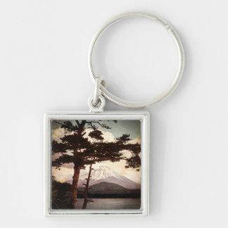 Mt. Fuji Through the Pines Vintage Old Japan Key Ring