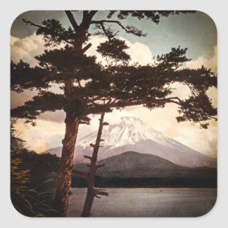 Mt. Fuji Through the Pines Vintage Old Japan Square Sticker