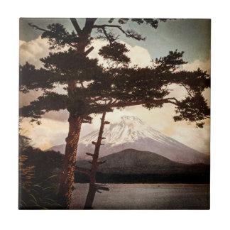 Mt. Fuji Through the Pines Vintage Old Japan Tile