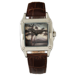Mt. Fuji Through the Pines Vintage Old Japan Wrist Watch