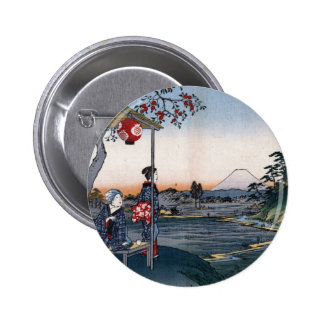 Mt Fuji Viewed from a Teahouse c 1800s Japan Pinback Button