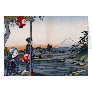 Mt. Fuji Viewed from a Teahouse c. 1800s Japan Greeting Card