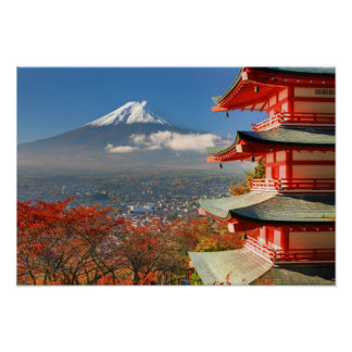 Mt. Fuji viewed from behind Chureito Pagoda Poster