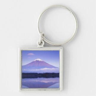 Mt. Fuji with Lenticular Cloud, Motosu Lake, Silver-Colored Square Key Ring