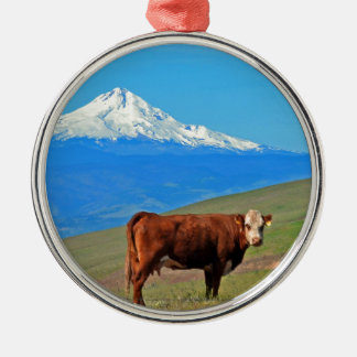 Mt Hood And A Cow Christmas Ornaments
