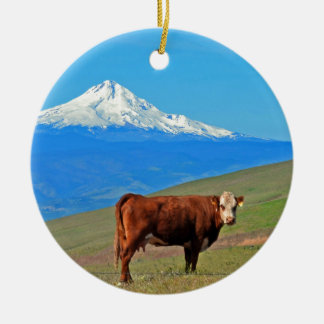 Mt Hood And A Cow Round Ceramic Decoration