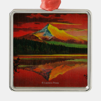 Mt. Hood at Sunrise from Lost Lake, Oregon Silver-Colored Square Decoration