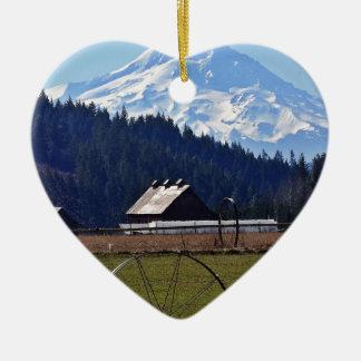 Mt. Hood Ceramic Heart Ornament