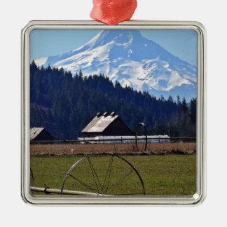 Mt. Hood Silver-Colored Square Ornament