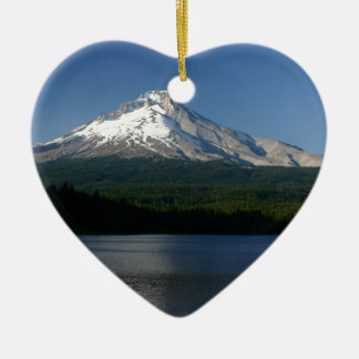 Mt Hood from Trillium Lake Ceramic Heart Decoration