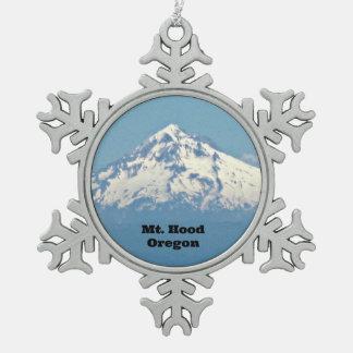 Mt. Hood, Oregon Snowflake Pewter Christmas Ornament