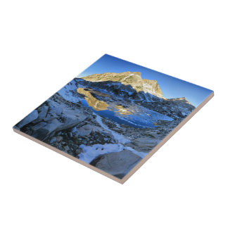 Mt Izaak Walton Over Bighorn Lake Sunrise - Sierra Ceramic Tile