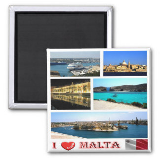 MT - Malta - I Love - Collage Magnet