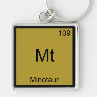Mt - Minotaur Funny Chemistry Element Symbol Tee Silver-Colored Square Key Ring