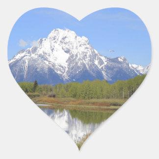 Mt. Moran Grand Teton National Park Heart Sticker