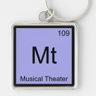 Mt - Musical Theater Chemistry Element Symbol Tee Silver-Colored Square Key Ring