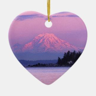 Mt. Rainier at Sunset, Washington State. Ceramic Ornament