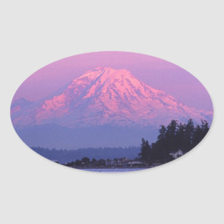 Mt. Rainier at Sunset, Washington State. Oval Sticker