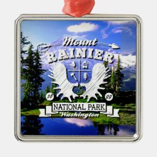 Mt. Rainier Camper Logo Metal Ornament