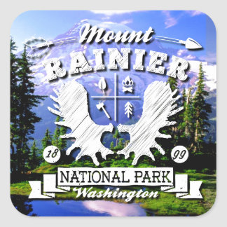 Mt. Rainier Camper Logo Square Sticker