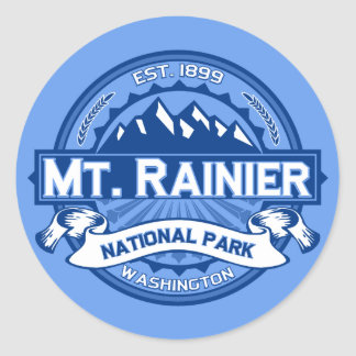 Mt. Rainier Cobalt Classic Round Sticker