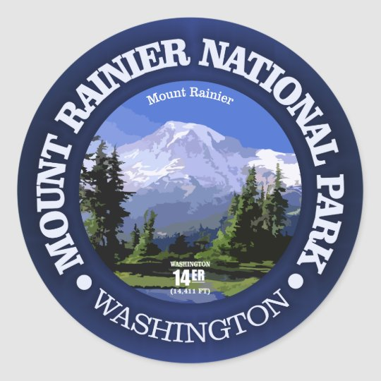 Mt Rainier NP Classic Round Sticker