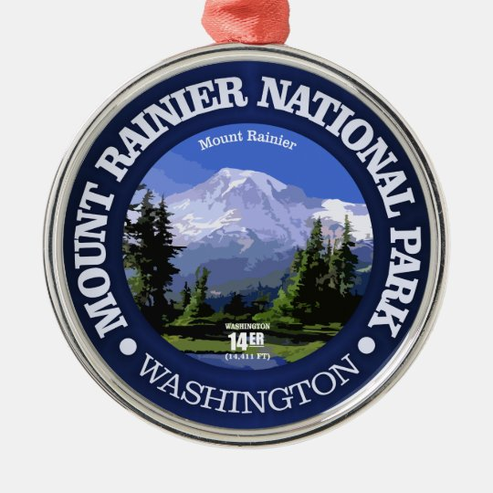 Mt Rainier NP Silver-Colored Round Decoration