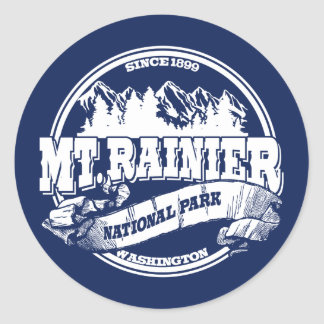 Mt. Rainier Old Circle Blue Classic Round Sticker