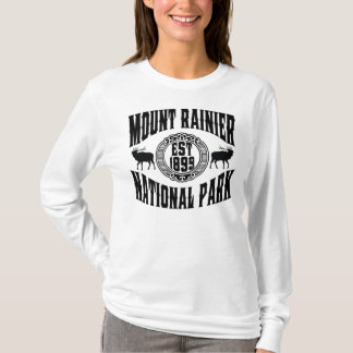 Mt. Rainier Old Style Black T-Shirt