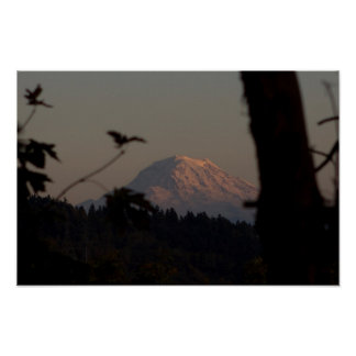 Mt. Rainier Sunset, Tacoma, WA Poster
