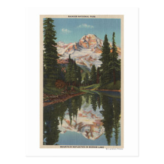 Mt. Rainier, WA - Mirror Lake with Mt. Reflectio Postcard