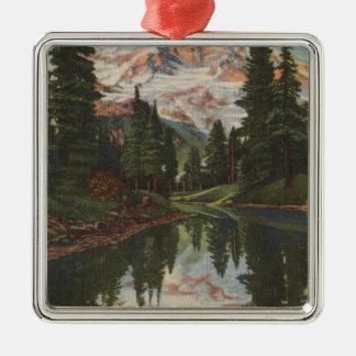 Mt. Rainier, WA - Mirror Lake with Mt. Reflection Christmas Ornament