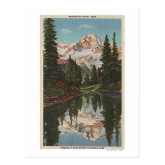 Mt. Rainier, WA - Mirror Lake with Mt. Reflection Postcards