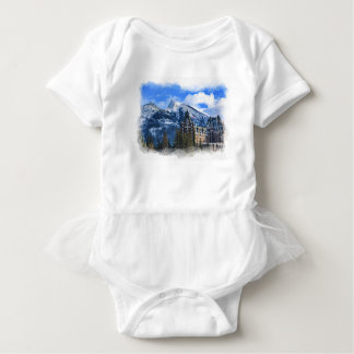 Mt Rundle and Famous Hotel, Banff, Alta, Canada Baby Bodysuit