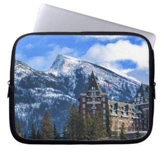 Mt Rundle and Famous Hotel, Banff, Alta, Canada Laptop Sleeve