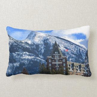 Mt Rundle and Famous Hotel, Banff, Alta, Canada Lumbar Cushion