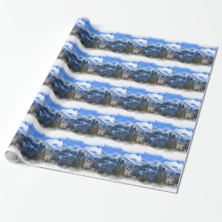 Mt Rundle and Famous Hotel, Banff, Alta, Canada Wrapping Paper