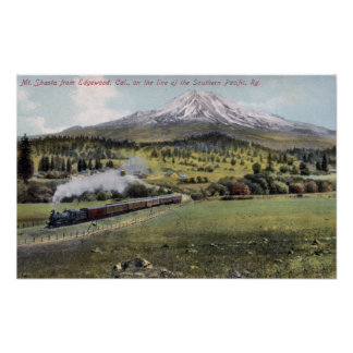 Mt. Shasta and Southern Pacific Rail Poster