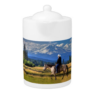 MT SHASTA WITH HORSE AND RIDER