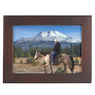 MT SHASTA WITH HORSE AND RIDER KEEPSAKE BOX