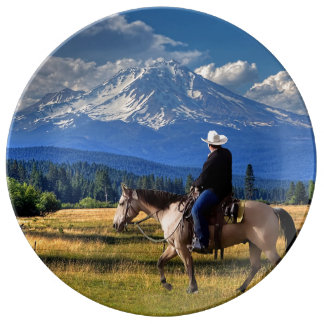 MT SHASTA WITH HORSE AND RIDER PLATE
