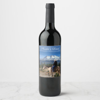 MT SHASTA WITH HORSE AND RIDER WINE LABEL