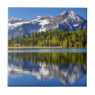 Mt. Timpanogos Reflected In Silver Lake Flat Ceramic Tile