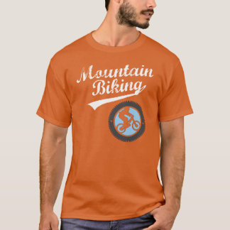 MTB Mountain Biking Retro Graphic, White & Blue T-Shirt