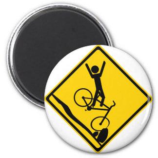 Mtn Biker Crash Road Sign Magnet