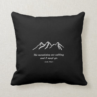 Mtns are calling/Snowy blizzard on Black Design Cushion