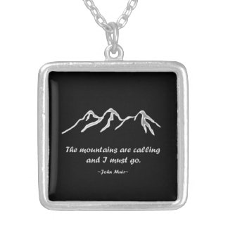 Mtns are calling/Snowy blizzard on Black Design Square Pendant Necklace