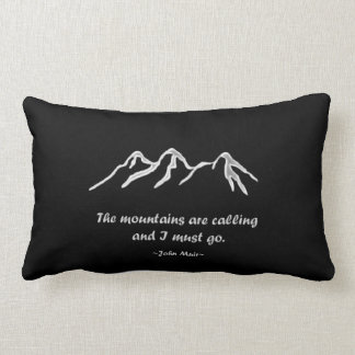 Mtns are calling/Snowy blizzard on black Lumbar Cushion